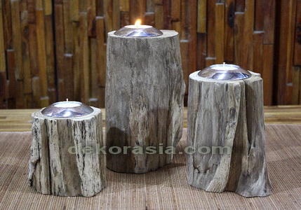 RECYCLED WOOD CANDLE SET OF 3