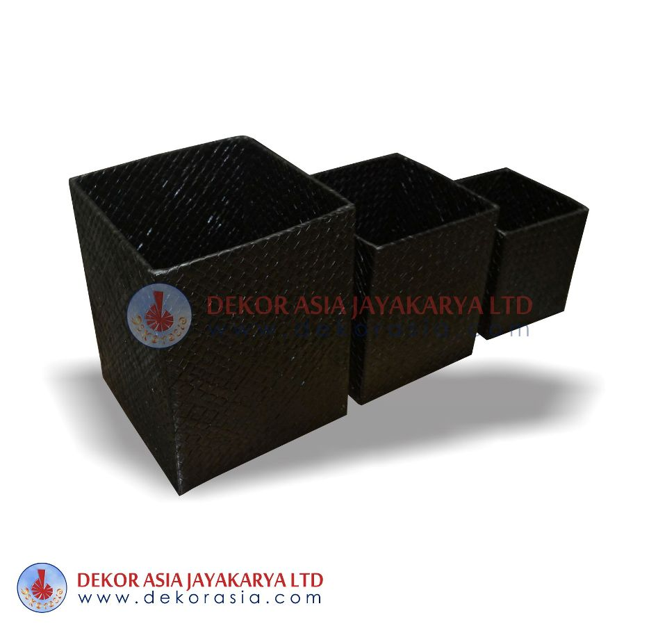 Square Box With Lid Set Of 3 - Pandanus Boxes