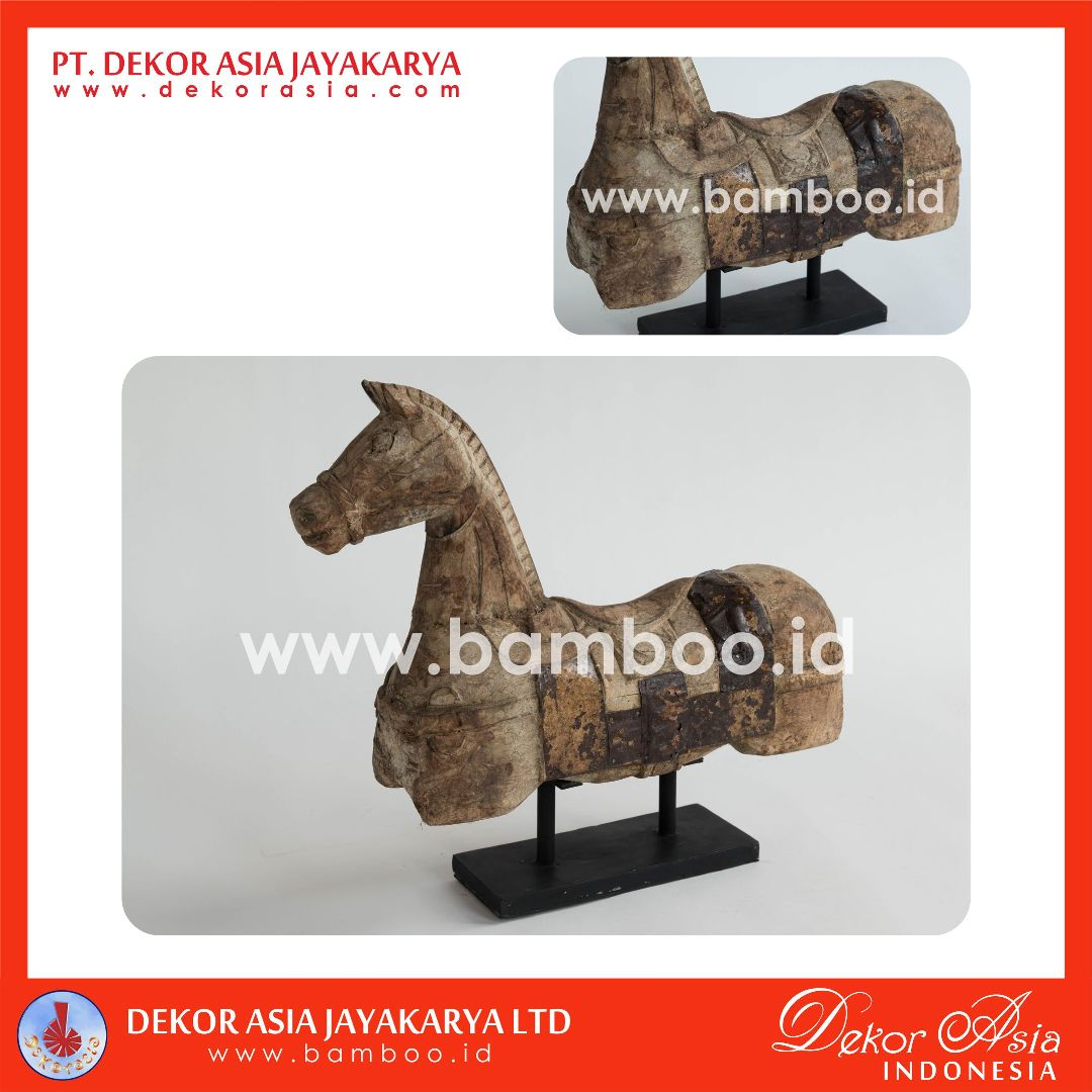 Wooden Horse Table Decoration with Antique Zinc