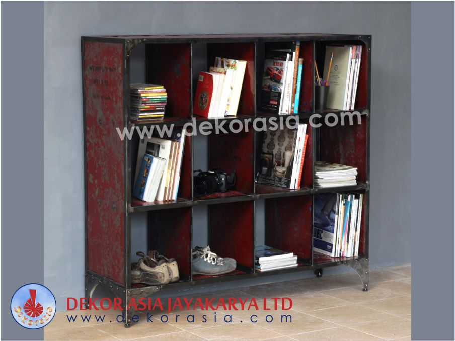 Iron Book Case 12 Hole - Iron Industrial Furniture