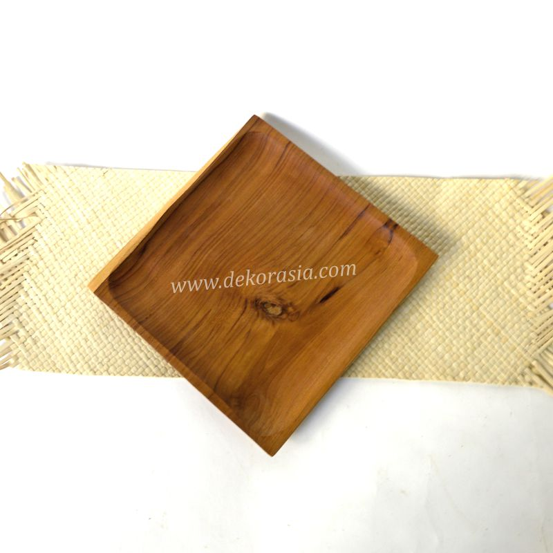 Teak Wood Square Tray Size 5.8 to 9.7 Inc | Kitchen Tools | Wooden