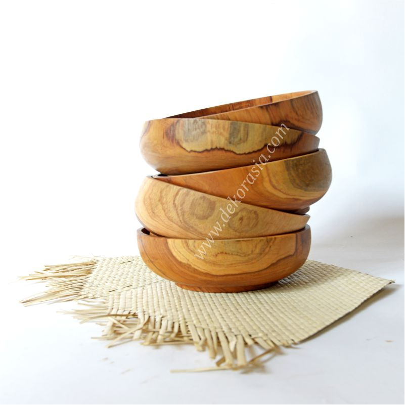 Teak Round Wood Bowl D 6.8 Inc | Kitchen Tools | Wooden