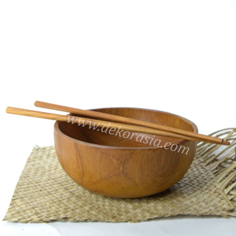Teak Wood Round Salad Bowl D 7.8 Inc | Kitchen Tools | Wooden