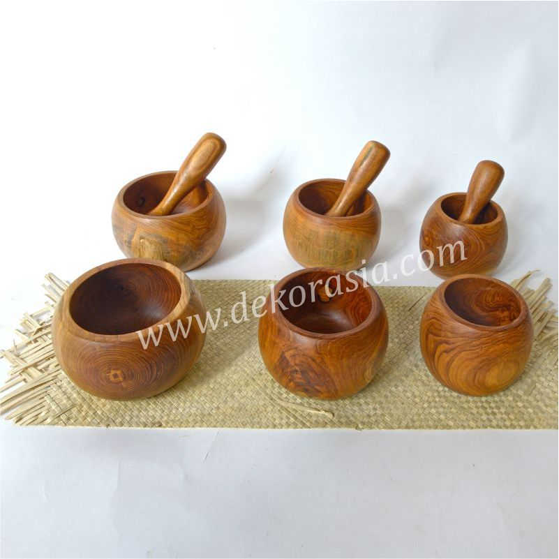 Teak Wood Mortar and Pestle D 4.1 to 5.5 Inc | Kitchen Tools | Wooden