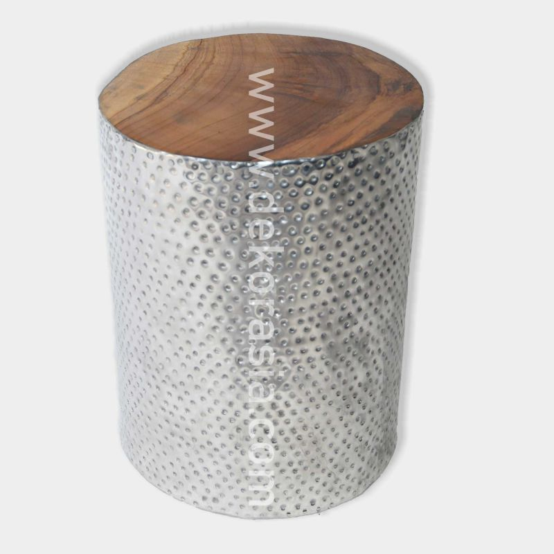 Antique Stool made from Aluminium and Wood | Wooden Stools