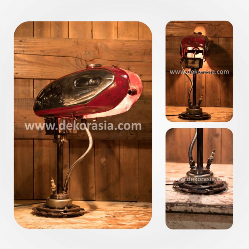 Steampunk Industrial Lamp | Motorcycle Tank Lamp | Vintage Motorcycle Lamp | Industrial lighting