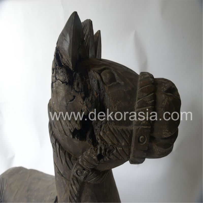 Wooden Horse Head Sculpture for Home Decoration