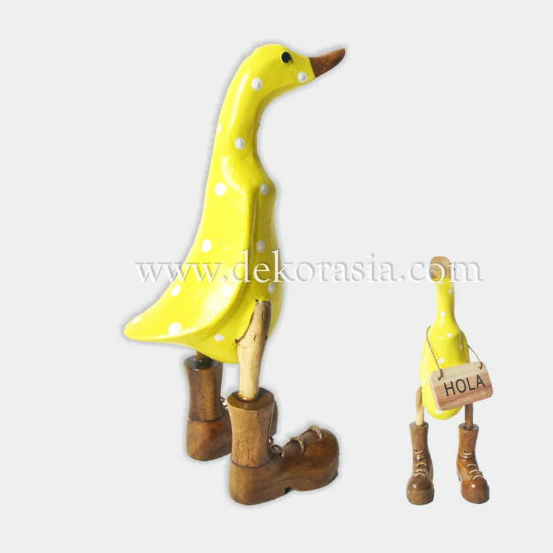 Yellow Polkadot with Boots | Bamboo Duck Craft | Bamboo Root Craft
