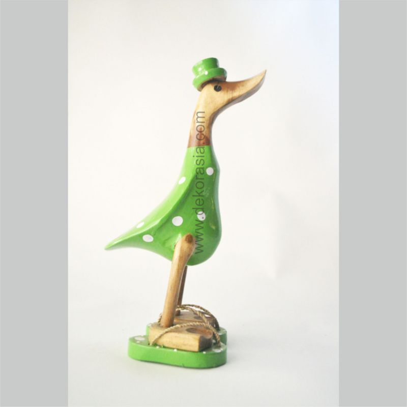 Green Polkadot with Sandals | Bamboo Duck | Bamboo Duck Craft | Bamboo Root Craft