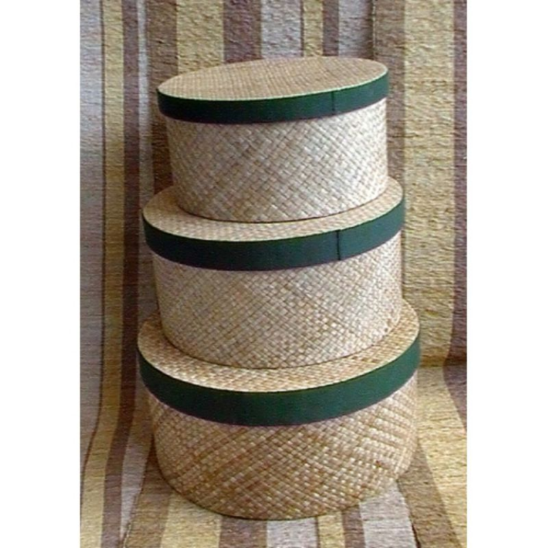 HAT BOX SET OF 3 WITH COTTON TRIM