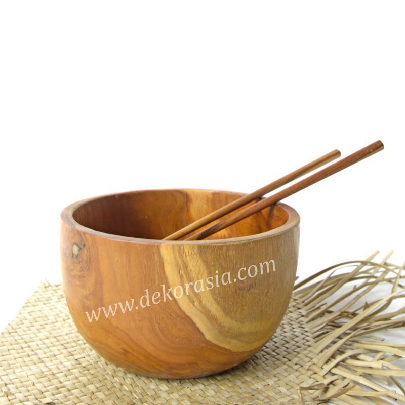 Teak Wood Round Bowl Dish Serving D 6.7 Inc | Kitchen Tools | Wooden